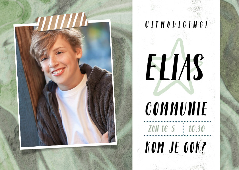 Communiekaarten - Stoere uitnodiging eerste communie met graffiti en foto