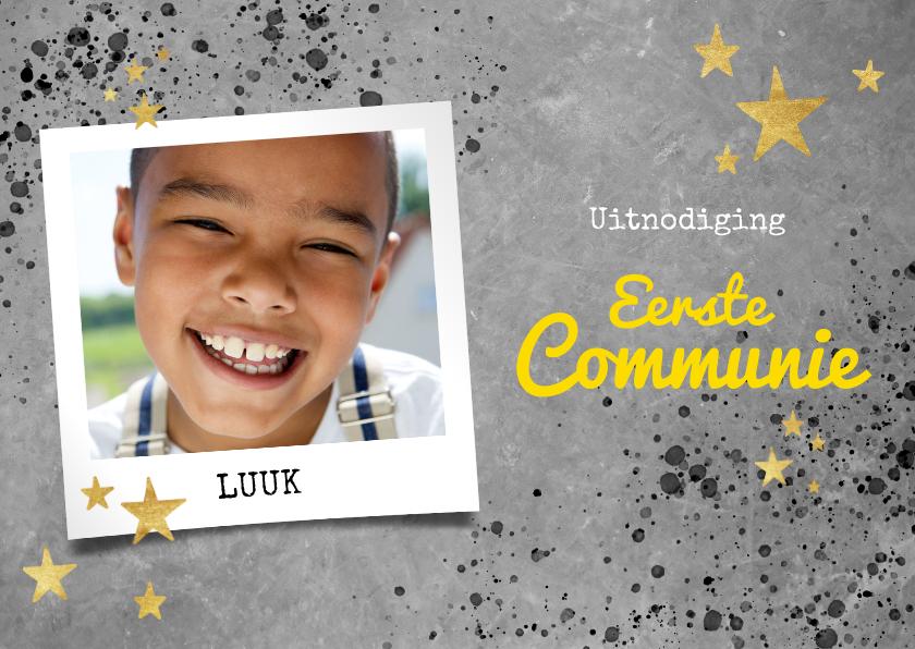 Communiekaarten - Stoere uitnodiging voor eerste communie beton en spetters