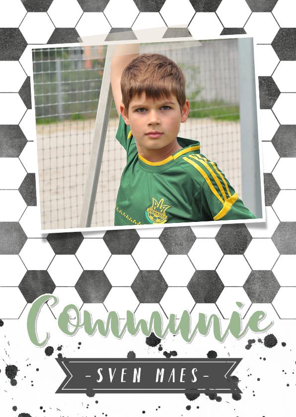 Communiekaarten - Stoere voetbal communiekaart met eigen foto
