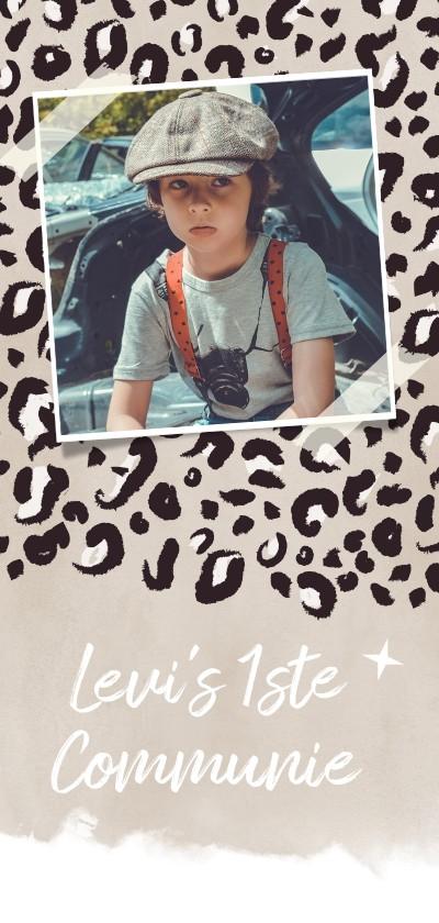 Communiekaarten - Trendy communiekaart jongen met luipaard print
