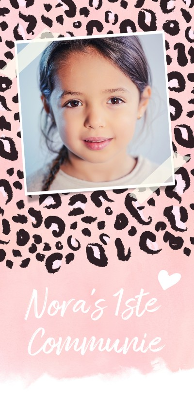 Communiekaarten - Trendy communiekaart met roze luipaard print en foto