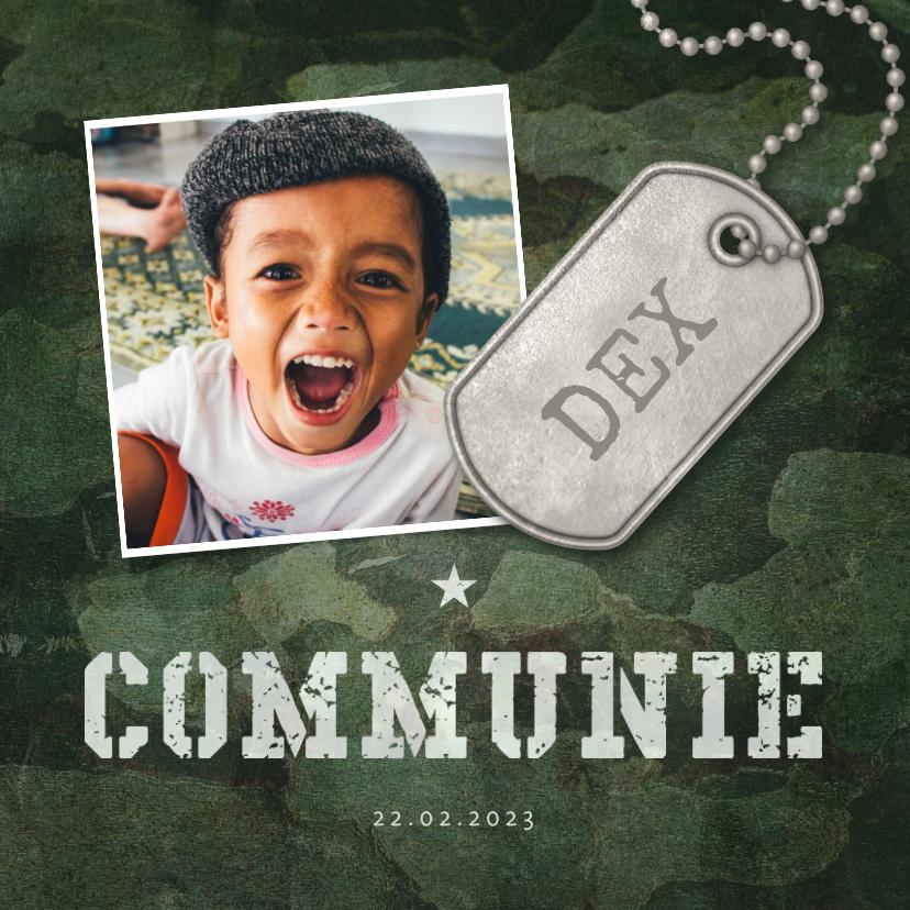 Communiekaarten - Uitnodiging communie army stoer met foto en legerplaatje