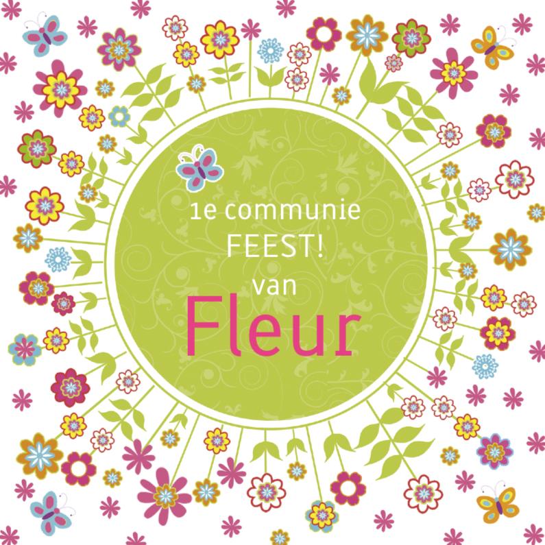 Communiekaarten - uitnodiging communie bloemen