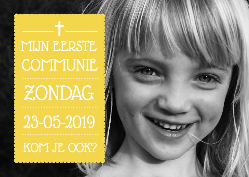 Communiekaarten - Uitnodiging Communie Geel Foto