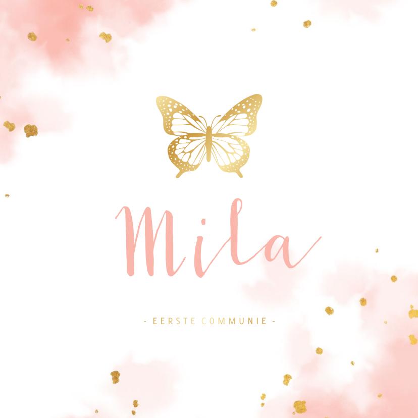 Communiekaarten - Uitnodiging communie gouden vlinder met waterverf