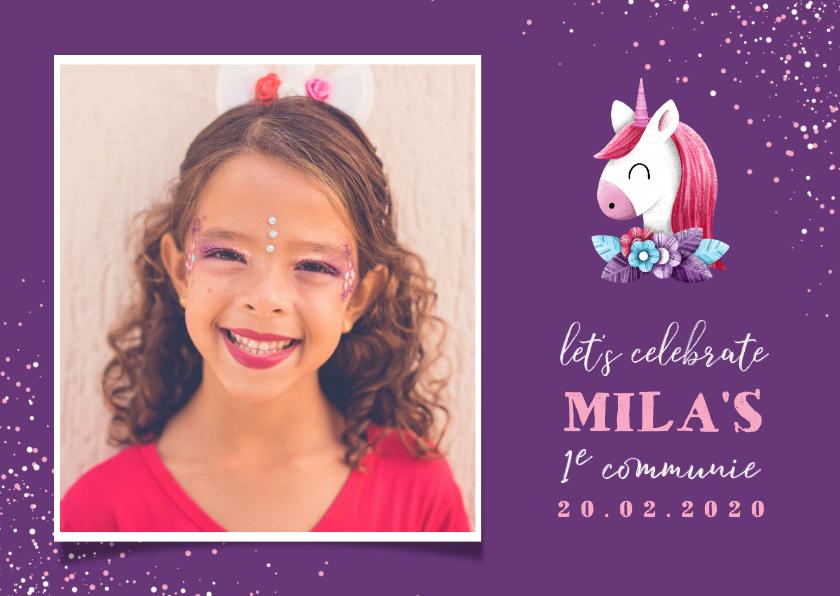 Communiekaarten - Uitnodiging communie grote foto met unicorn en confetti
