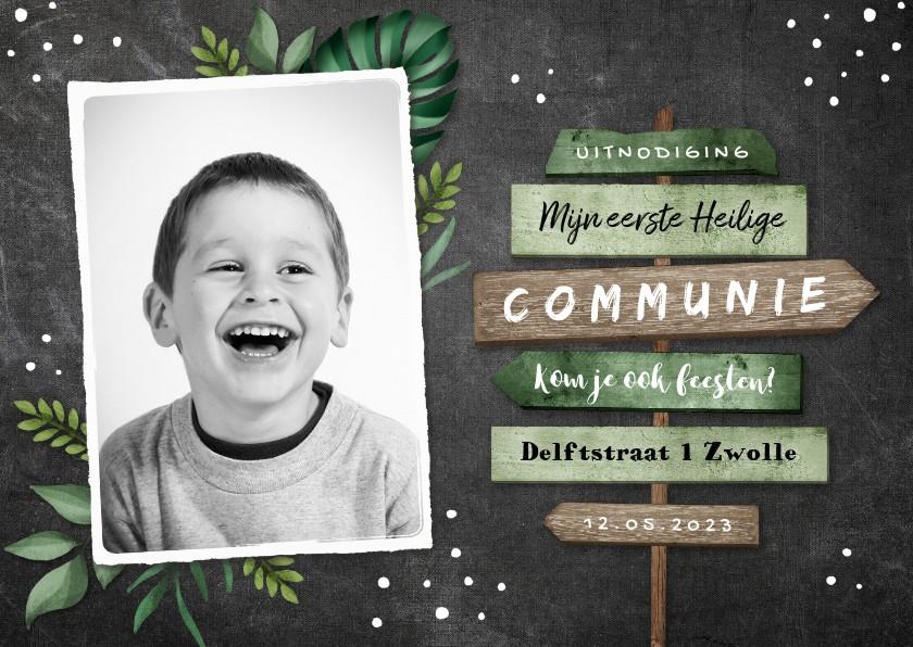 Communiekaarten - Uitnodiging communie jongen stoer wegwijzers krijt