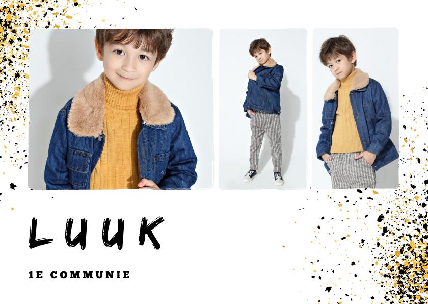 Communiekaarten - Uitnodiging communie jongen verfspetters goudlook