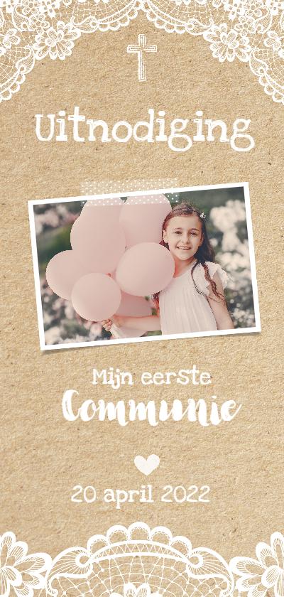 Communiekaarten - Uitnodiging Communie Kant & Karton