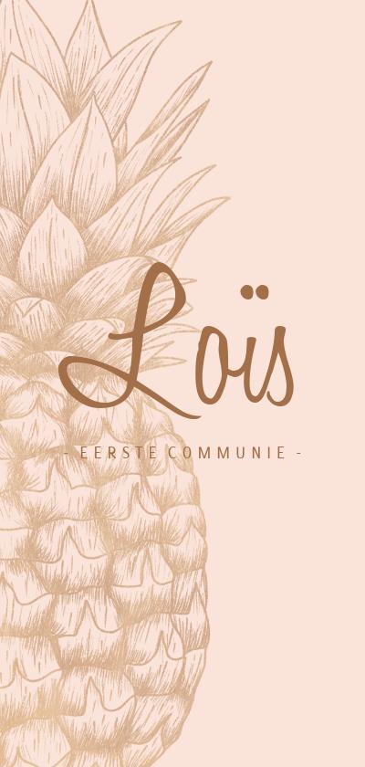 Communiekaarten - Uitnodiging communie koperen ananas langwerpig