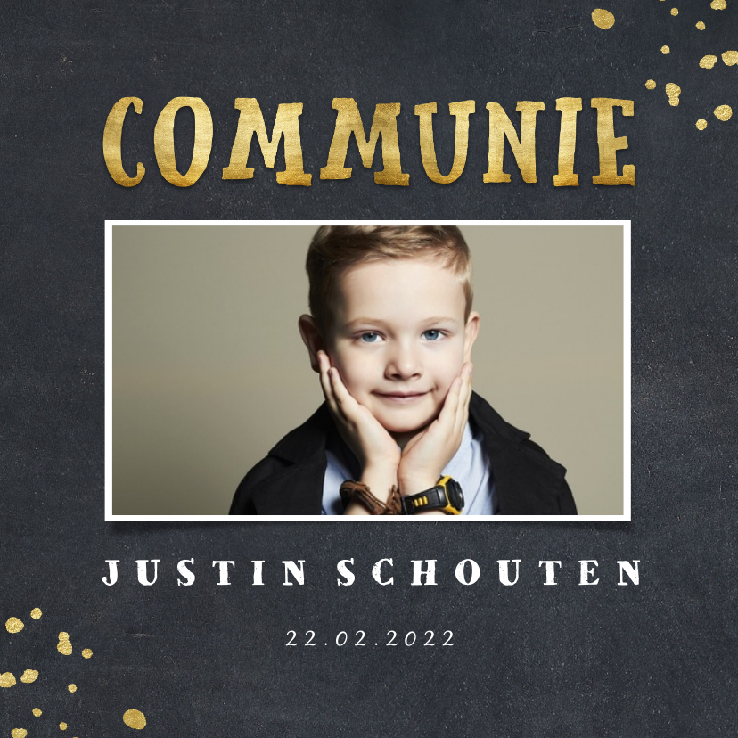 Communiekaarten - Uitnodiging communie krijtbord foto en gouden spetters