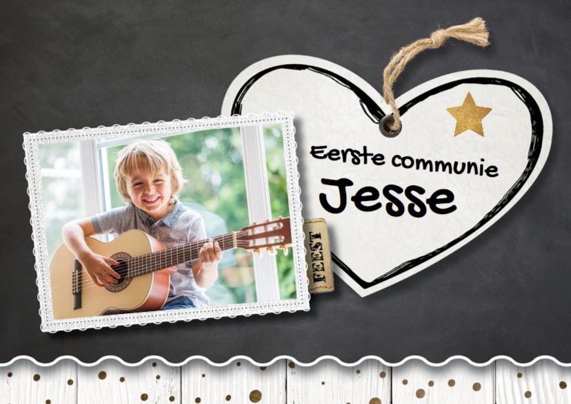 Communiekaarten - uitnodiging communie krijtbord hart- LO