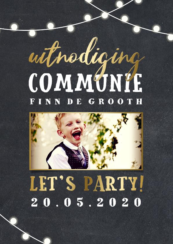 Communiekaarten - Uitnodiging communie lampjes goud met foto