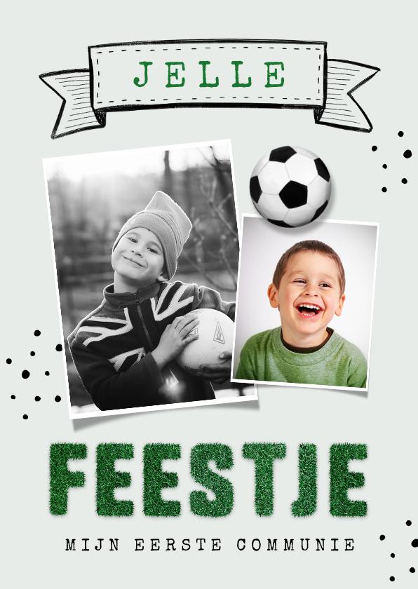 Communiekaarten - Uitnodiging communie lentefeest stoer voetbal