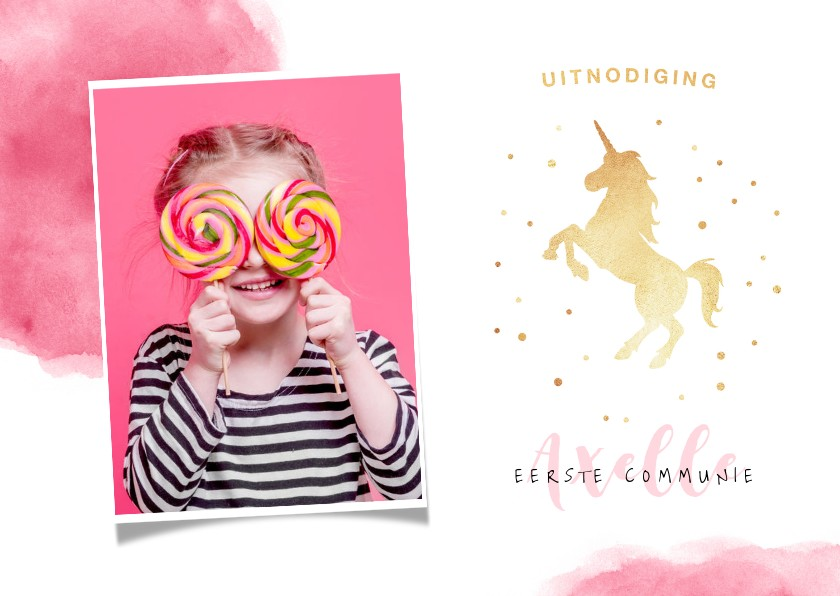 Communiekaarten - Uitnodiging communie of lentefeest unicorn meisje