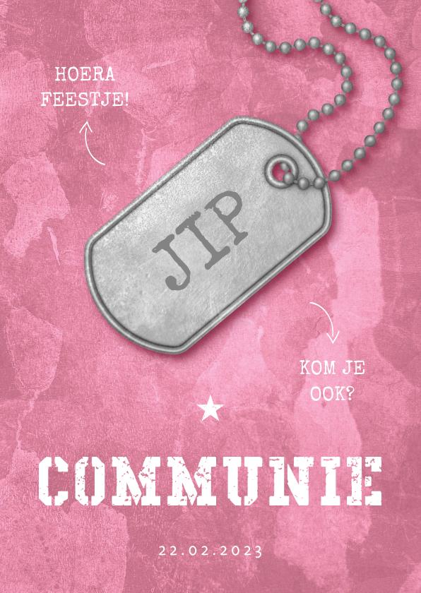 Communiekaarten - Uitnodiging communie roze stoer met legerplaatje