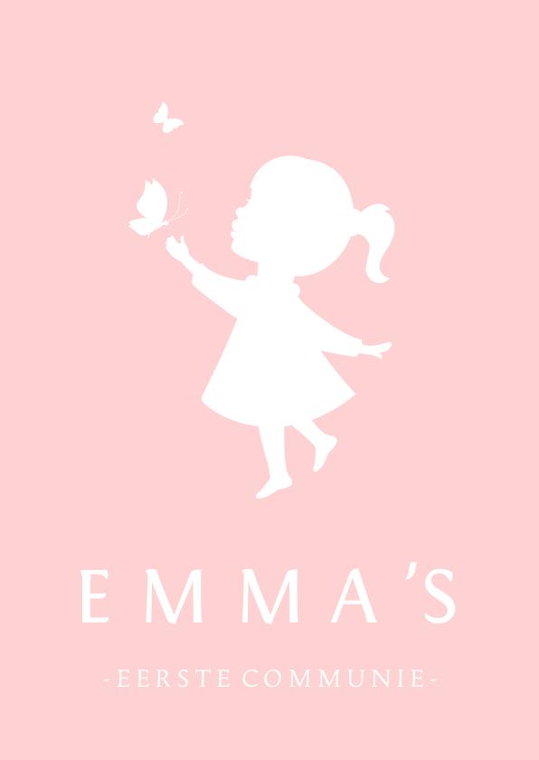Communiekaarten - Uitnodiging communie silhouet meisje met vllinders