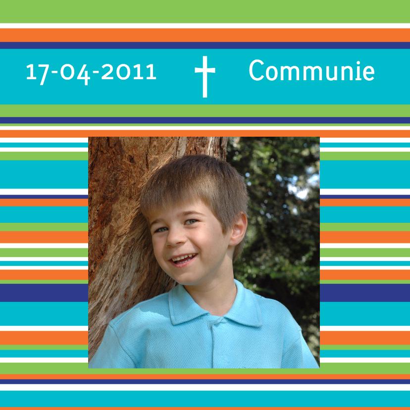 Communiekaarten - Uitnodiging Communie strepen blauw