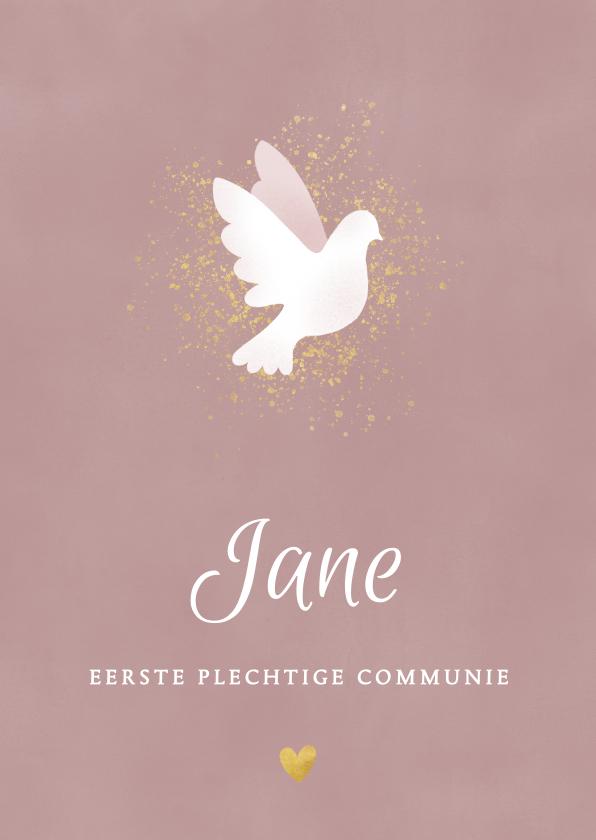 Communiekaarten - Uitnodiging eerste communie met duif , waterverf en goud