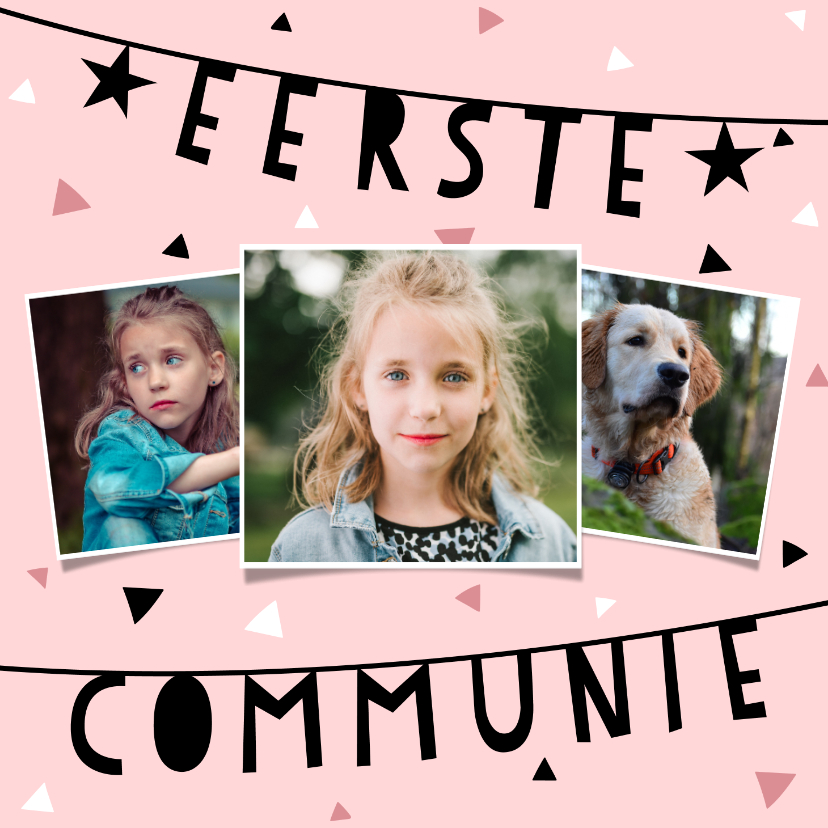 Communiekaarten - Uitnodiging eerste communie met slinger, confetti en foto's