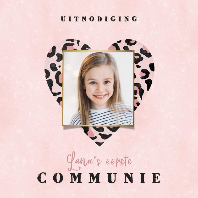 Communiekaarten - Uitnodiging eerste communie panterprint hart roze waterverf