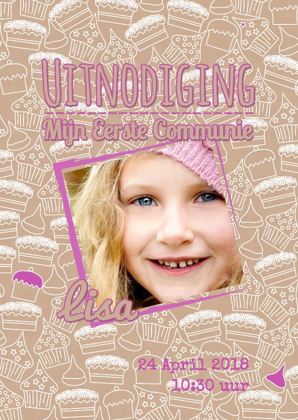 Communiekaarten - Uitnodiging foto cupcake roze