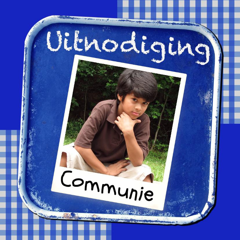Communiekaarten - Uitnodiging krijtbord blauw - BK