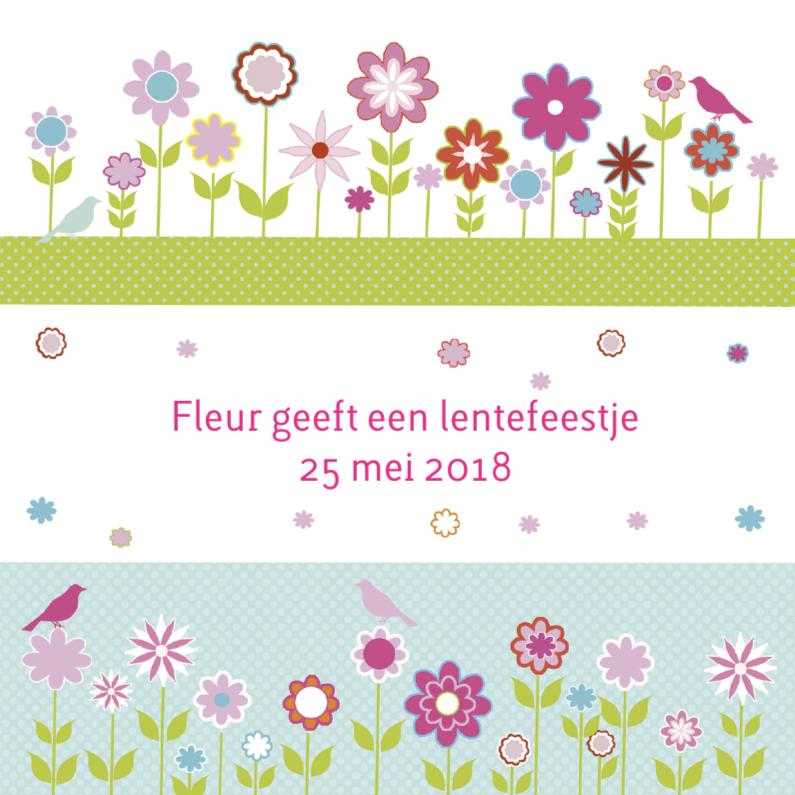 Communiekaarten - uitnodiging lentefeest bloem