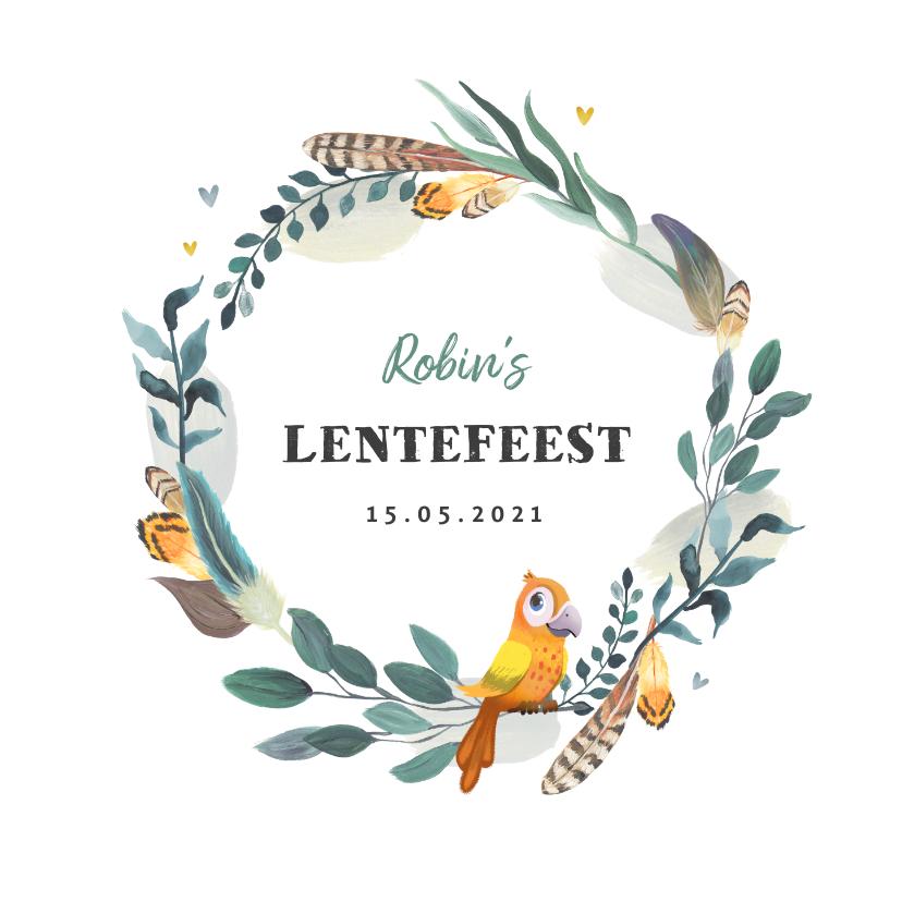 Communiekaarten - Uitnodiging lentefeest bohemian met vogeltje