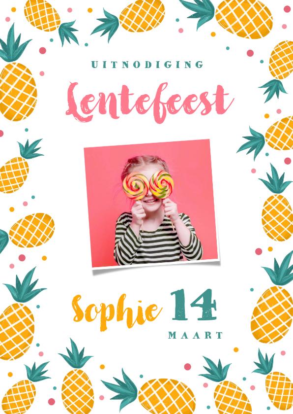 Communiekaarten - Uitnodiging lentefeest communie meisje ananas confetti