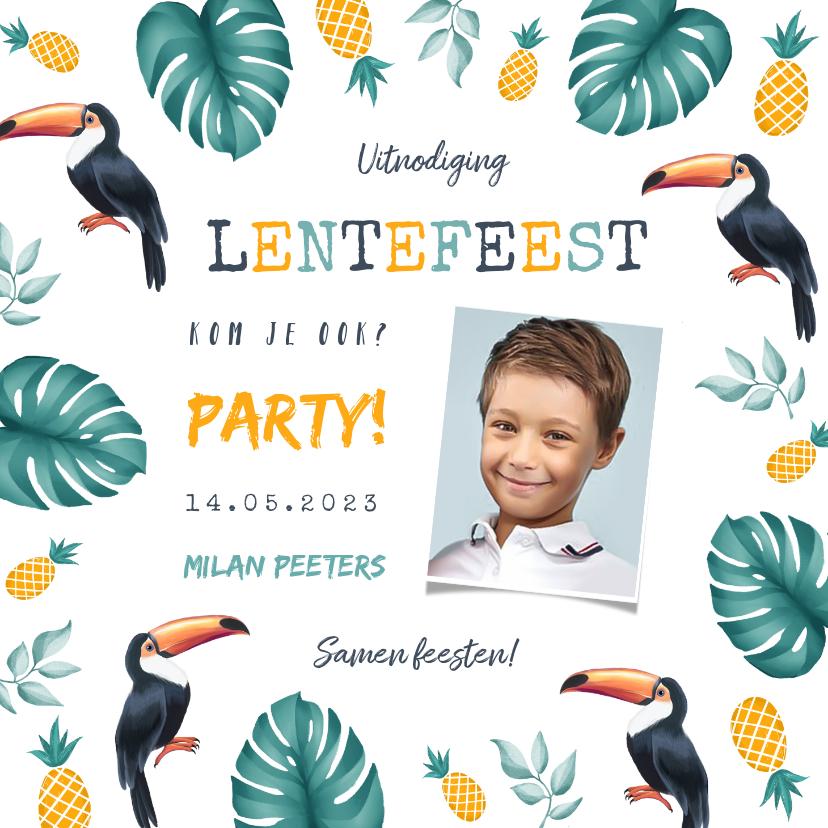 Communiekaarten - Uitnodiging lentefeest jongen tropical ananas toekan