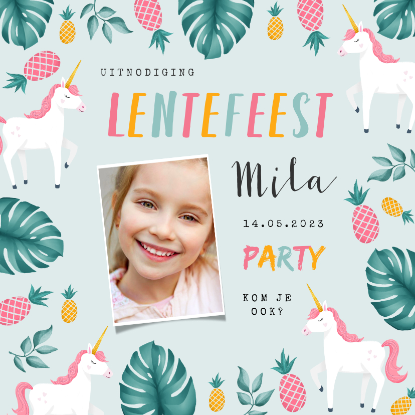 Communiekaarten - Uitnodiging lentefeest meisje hip tropical unicorn ananas
