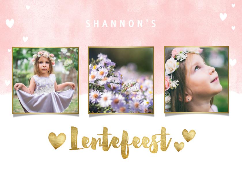 Communiekaarten - Uitnodiging lentefeest met waterverf, hartjes en foto's