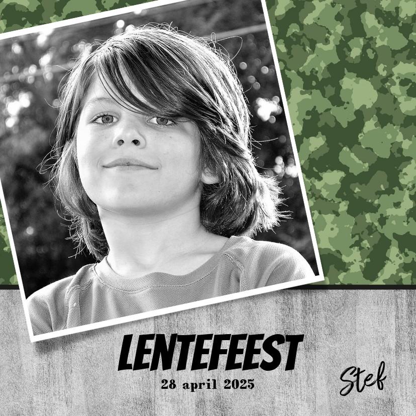 Communiekaarten - Uitnodiging lentefeest of communie stoere legerprint