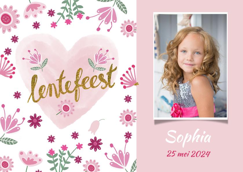 Communiekaarten - Uitnodiging lentefeest roze foto