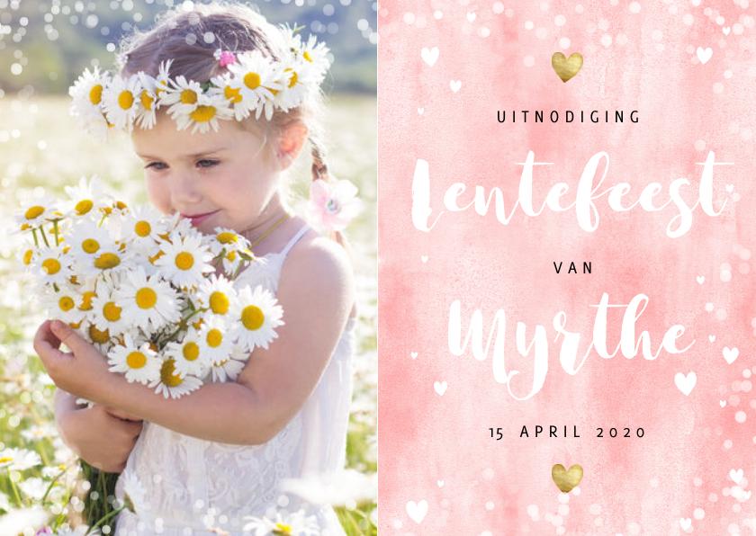 Communiekaarten - Uitnodiging lentefeest roze waterverf gouden hartjes en foto