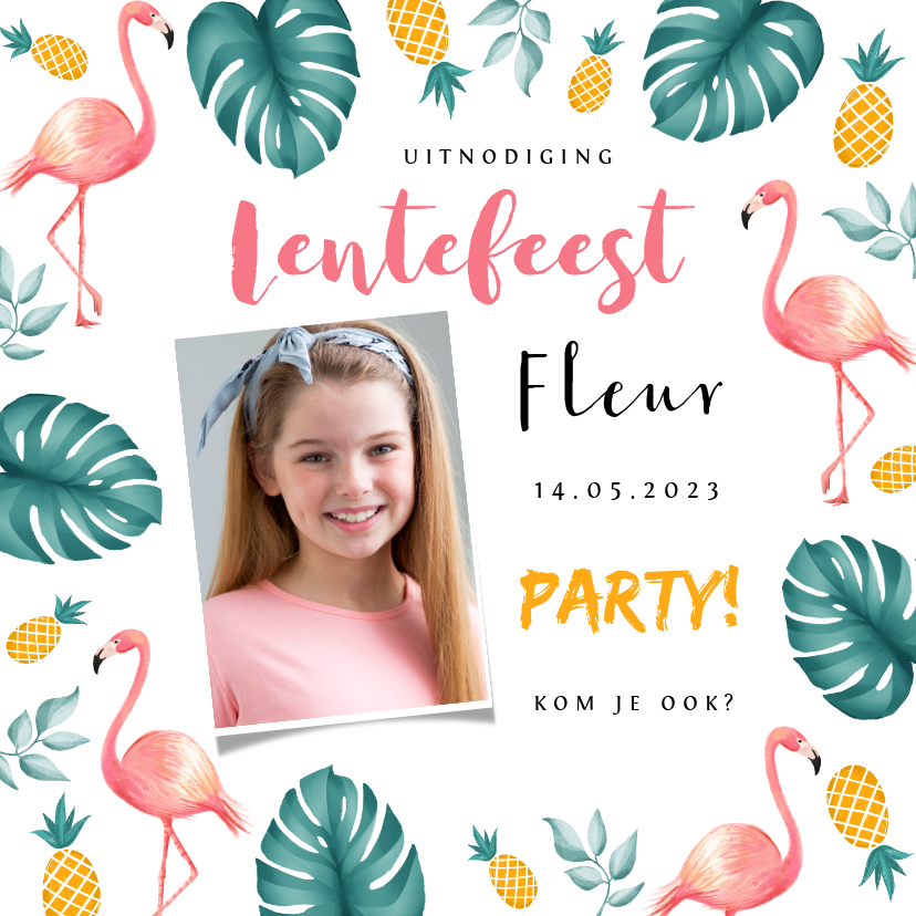 Communiekaarten - Uitnodiging lentefeest tropical hawaii flamingo ananas