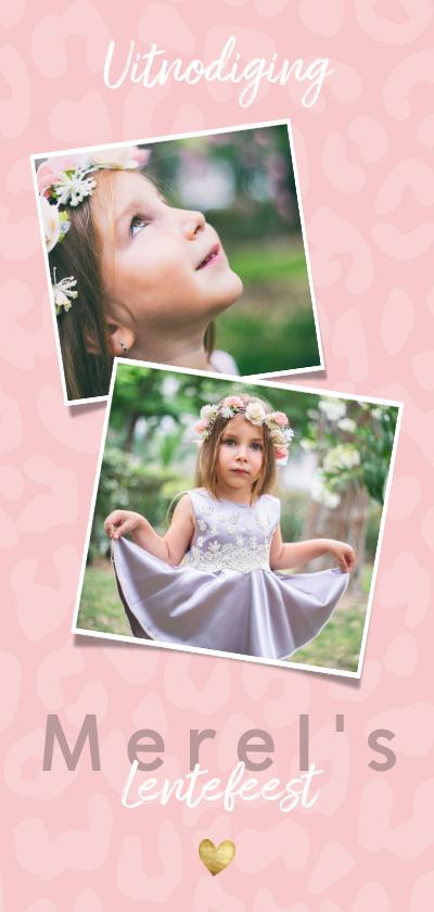 Communiekaarten - Uitnodiging lentefeest voor meisje met panterprint en hartje