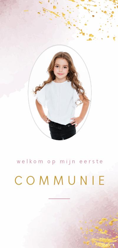 Communiekaarten - Uitnodiging voor communie met roze waterverf en goudspetters