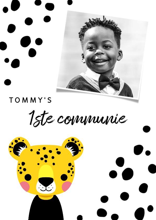 Communiekaarten - Uitnodiging voor eerste communie met luipaard en stipjes