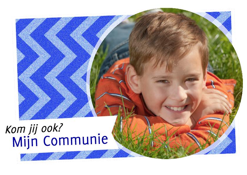 Communiekaarten - Uitnodiging zigzag blauw - BK