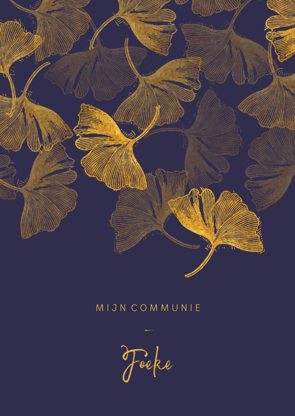 Communiekaarten - Uitnodigingskaart communie ginkgo blauw