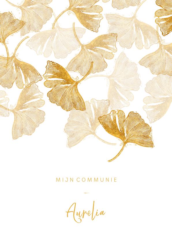 Communiekaarten - Uitnodigingskaart communie ginkgo wit