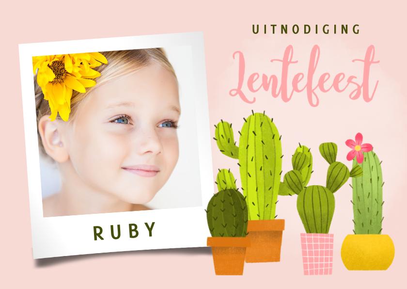 Communiekaarten - Vrolijke uitnodiging voor lentefeest met cactussen en foto's