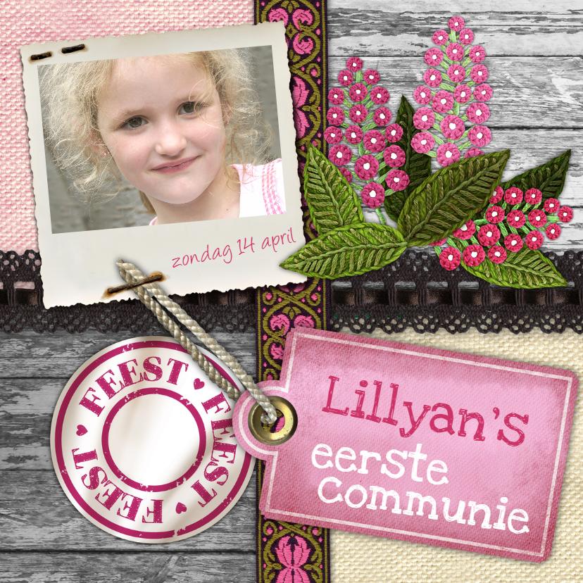 Communiekaarten - YVON communie roze hip bloemen