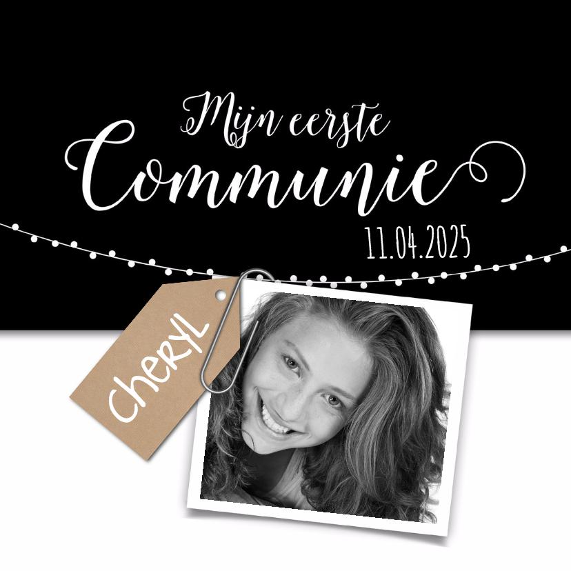 Communiekaarten - Zwartwit kraft communie-isf