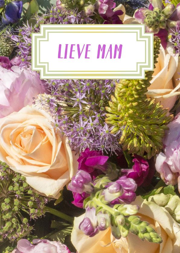 Condoleancekaarten - Bloemen luxe bloemetje geel-lila