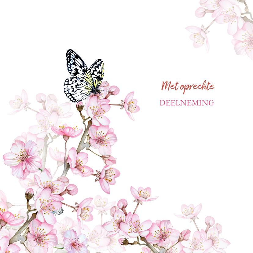 Condoleancekaarten - Bloesemtakken voorjaar vlinder