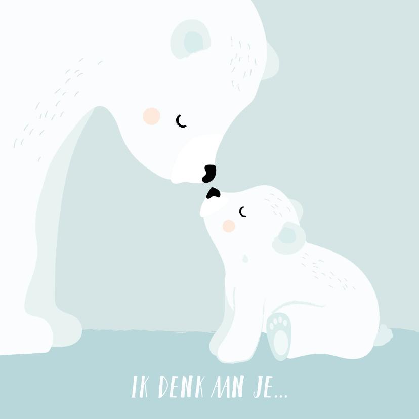 Condoleancekaarten - Condeolance kaart kind met mama en baby ijsbeer