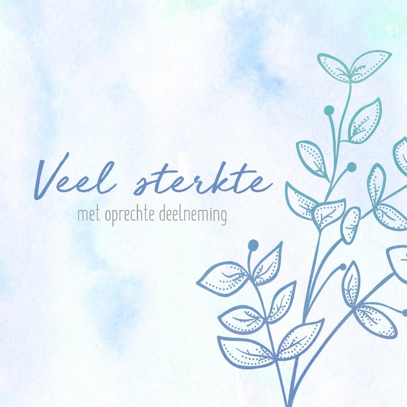 Condoleancekaarten - Condoleance - bloem waterverf blauw